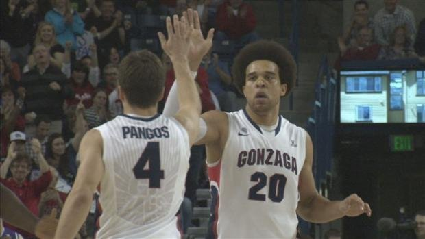 Kevin Pangos (left) and Elias Harris (right) were named to the All-WCC team (Photo: SWX)