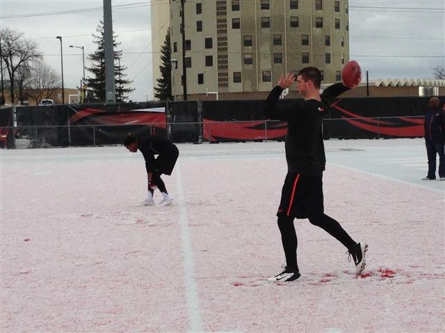 Weather conditions limited the drills quarterback Kyle Padron was able to do at pro day.