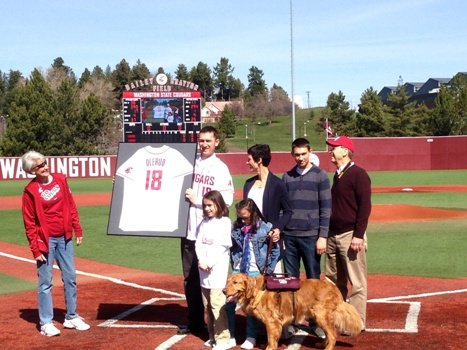 Washington State retired John Olerud's jersey on Saturday.