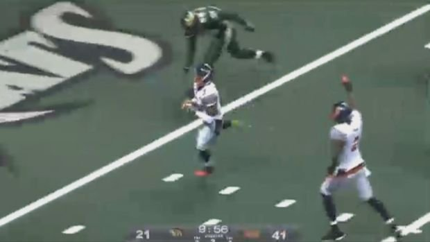 Paul Stephens set an AFL single-game record with five interceptions, including this one for a touchdown, in the Shock's 69-47 win over the Sabercats on Friday.