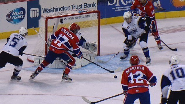 Mitch Holmberg scored two goals and assisted on two more to lead the Chiefs.