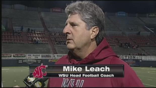 Sam Adams interviewing WSU head coach Mike Leach live on SWX.