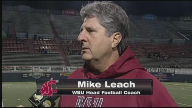 Sam Adams interviewing WSU head coach Mike Leach live on SWX.