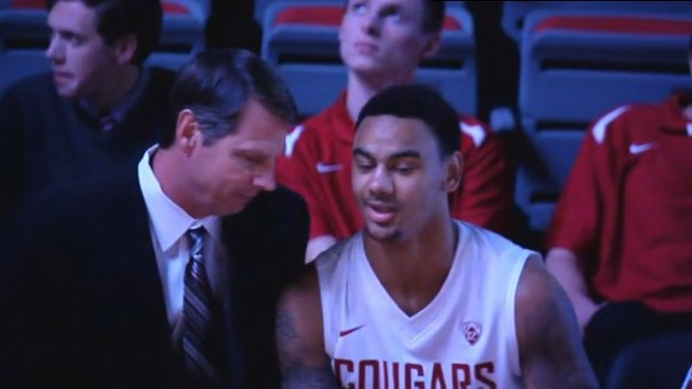WSU head coach Ken Bone coaching Davonte' Lacy up on Friday night.