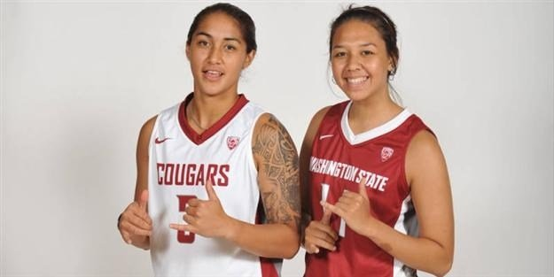 WSU's Lia Galdeira and Dawnyelle Awa will have a homecoming of sorts when the Cougars play in the Wahine Classic (Photo Courtesy of WSU Athletics).