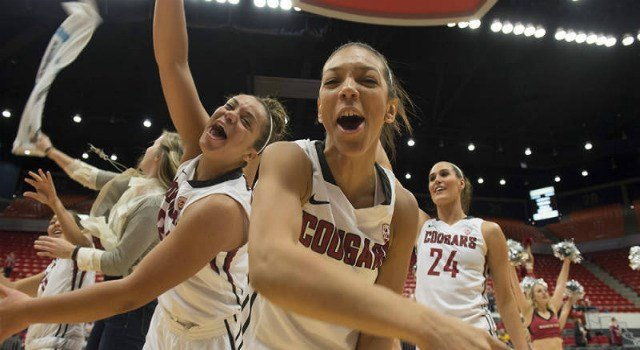 The WSU women's basketball team celebrates after defeating the No. 24/25 Sun Devils.