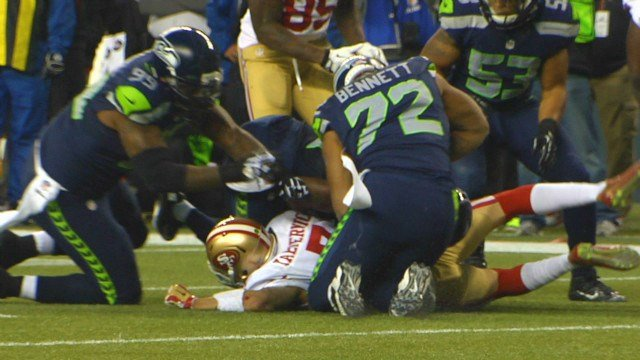 Later in the second quarter the Seahawks began to get to Colin Kaepernick, or should we say, Krushed-nick.