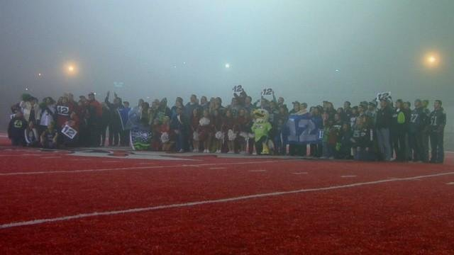 EWU and Seattle Seahawks fans met on Roos Field in Cheney to show their 12th Man support!