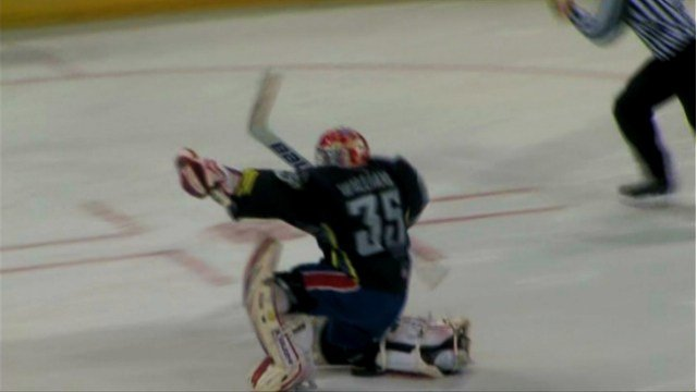 Eric Williams celebrates making the game-winning save in the shootout between the Chiefs and the Americans.
