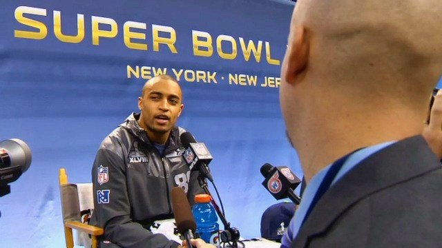 Sam Adams interviews Doug Baldwin at the Super Bowl XLVIII Media Day on Tuesday.