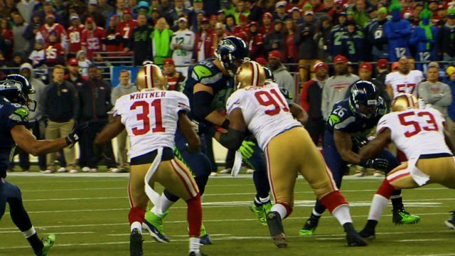 Michel Robinson blocking 49ers linebacker NaVarro Bowman for Marshawn Lynch like he did with the media today in NYC.