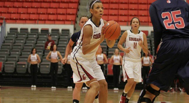 Tia Presley scored 20 points to lead the Cougars, but they couldn't overcome Stanfords late run.