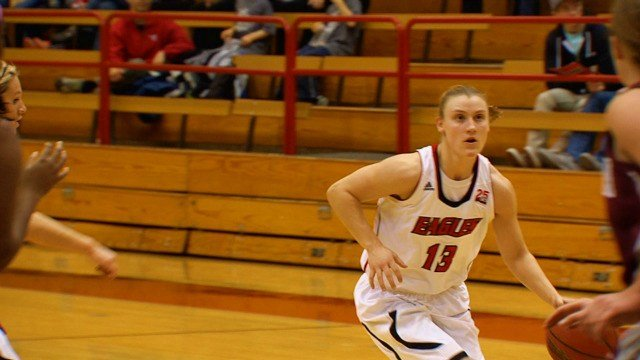Lexie Nelson drives into the paint before pulling up and nailing a jumper in EWU's win over Montana on Saturday.