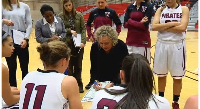 Helen Higgs earned her 300th career win on Saturday when the Whitworth Women trounced the Lutes.