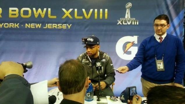 Golden Tate wore Tron-like glasses and a GoPro camera on his head through out his Super Bowl XLVIII experience.