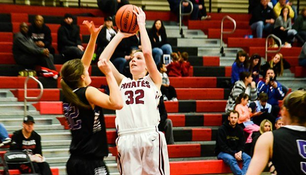 Kayla Johnson moved into 7th on the Whitworth all-time scoring list but the Pirates couldn't defeat Whitman on Tuesday.