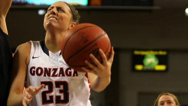 Kiara Kudron finished with 6 points and 8 rebounds in Gonzaga's win over Portland on Saturday.