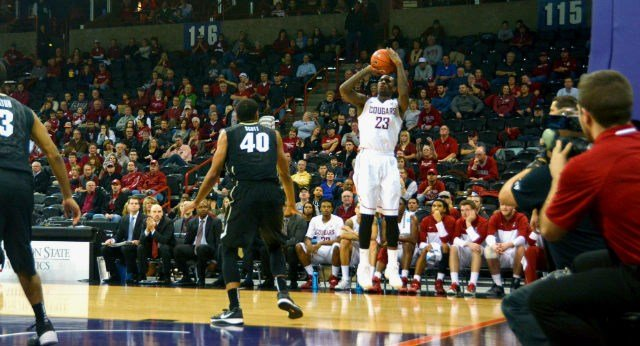 D.J. Shelton missed 10 3's but grabbed 15 rebounds in the Cougars loss to Washington on Friday.