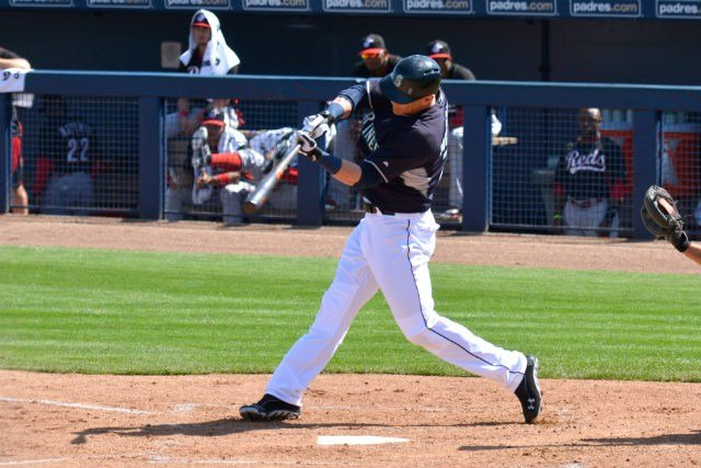 Logan Morrison taking a cut during an earlier spring training game, he hit well today. (Photo: Reed Schmitt)