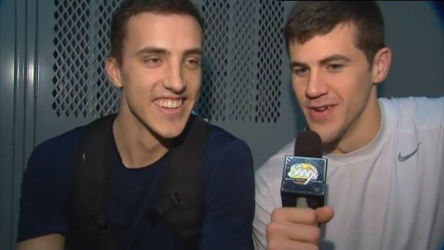 Drew Barham does his best Sam Adams impression while interviewing teammate Kyle Dranginis on Friday.
