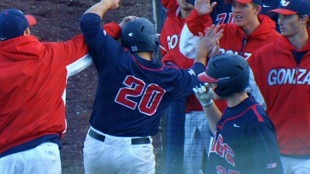 Gonzaga baseball celebrated a doubleheader sweep over Portland on Friday.