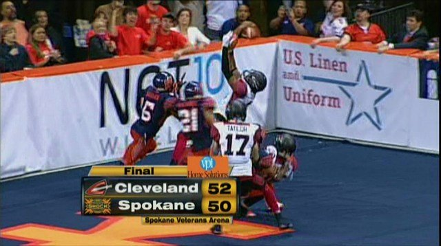 This catch off the net ended Spokane's night with a loss to Cleveland.