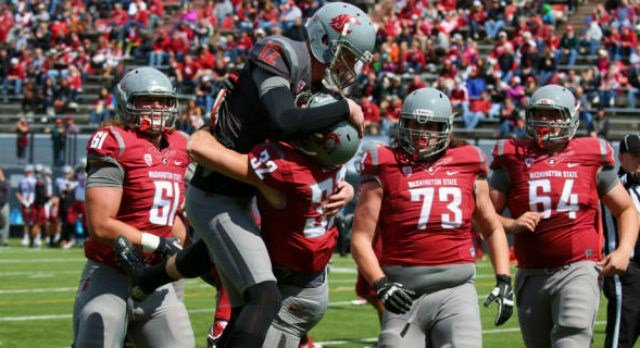 Connor Halliday and the WSU football team could celebrate a positive Crimson and Gray game on Saturday, April 26. (Photo: WSU Athletics)