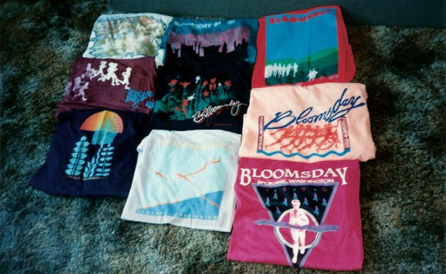 Some Bloomsday finisher shirts from SWX producer Neil Stover's family trips to participate in the race.