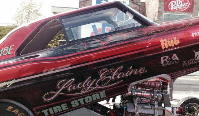 Lady Elaine, driven by Elaine Sellers, is going to race at Spokane County Raceway later in the season, but came out to show SWX what the drag races are all about.