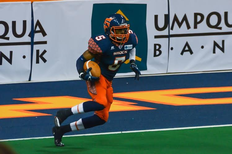 Terrance Sanders earned J. Lewis Small Playmaker of the Week honors for his return and defensive additions to the Shock's win. (Photo: Reed Schmitt)