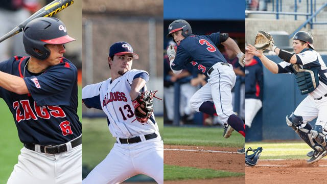 Four Gonzaga baseball standouts made the All-WCC Team on Tuesday. (Photo: Gonzaga Athletics)