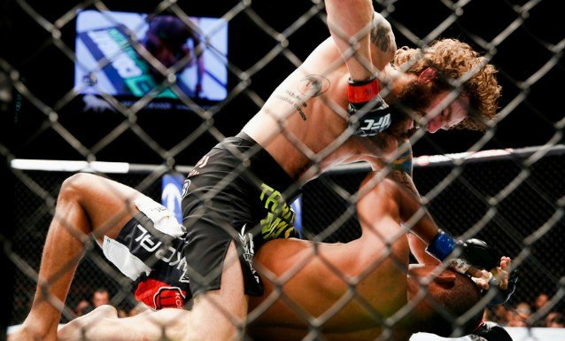 Michael Chiesa was able to land many unguarded punches on Francisco Trinaldo in UFC 173 on Saturday night. (Photo: MMAFighting.com)