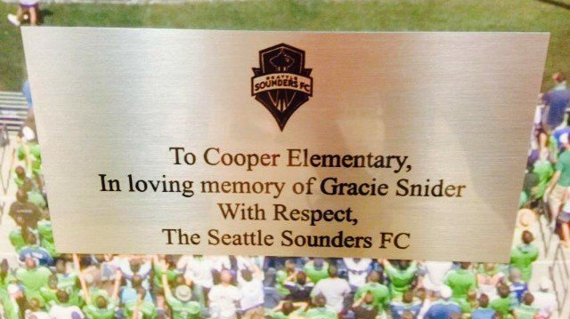 The Seattle Sounders remembered Gracie Snider at Cooper Elementary on Wednesday.