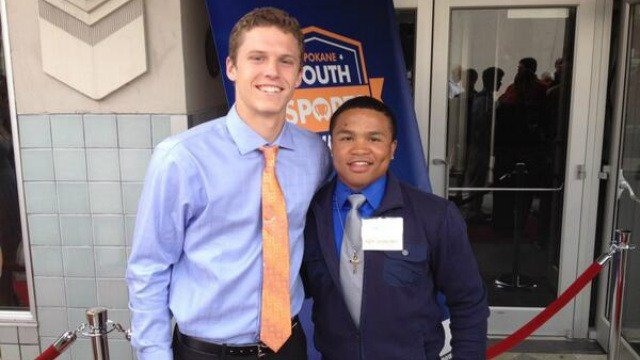 Boise State commit Brett Rypien and Against All Odds award winner Sam Dowd on the red carpet before the SYSA's. (Photo: Josh Ouellette)