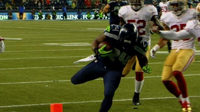 Marshawn Lynch's TD run in the third quarter of the NFC Championship game helped the Seahawks get to the Super Bowl.