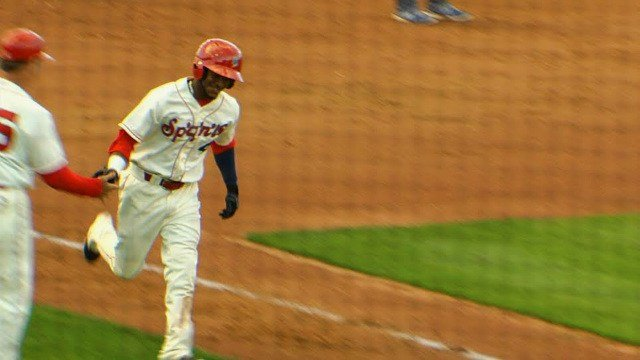 Alberto Triunfel's two-run homer in the fifth opened up the game for the Spokane Indians.
