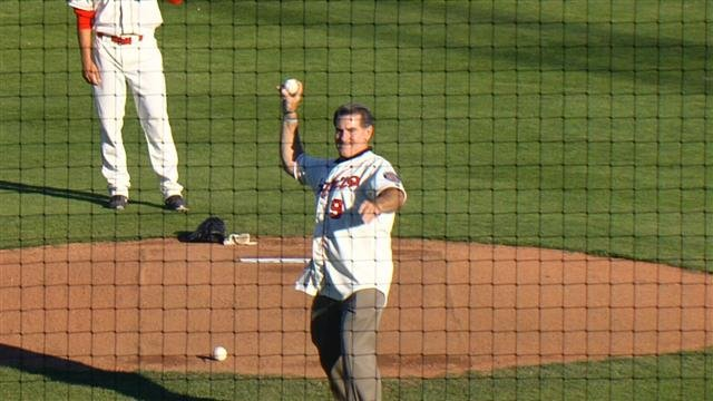 Steve Garvey tossed out the first pitch at the Spokane Indians game on Wednesday, June 9.