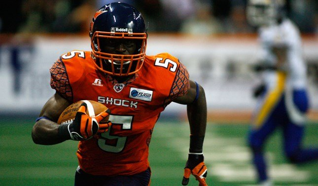Terrance Sanders and the Shock gave the Spokane Arena fans a reason to cheer, winning in comeback fashion against Tampa Bay. (Photo: Spokane Shock)