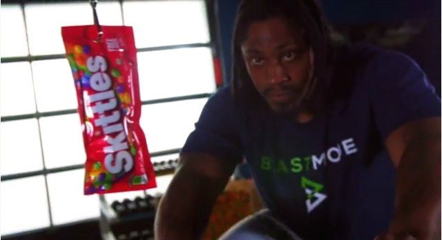 Marshawn Lynch has brought his love for Skittles into the weight room.
