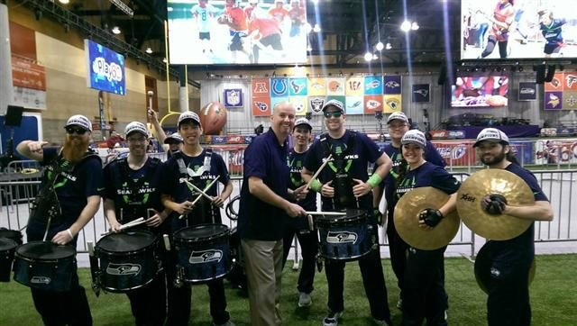 Sam Adams having some fun with the Seahawks drumline this morning.
