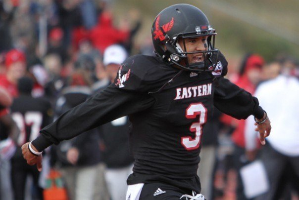 Vernon Adams after throwing a touchdown pass for EWU during the 2014 season.