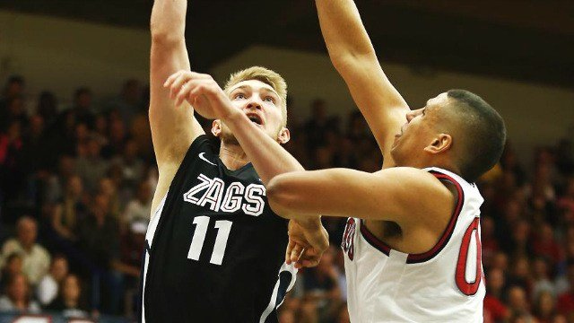 Domantas Sabonis and the Zags fell at St. Mary's on Thursday night. (Photo: AP)