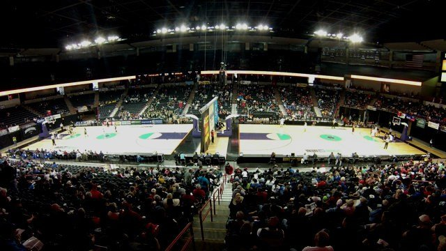 The Spokane Arena has been split into two courts to cover all of the WIAA State B action over the next few days.
