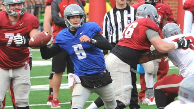 Peyton Bender tossed six TDs in WSU's second scrimmage on Satruday. (Photo: WSU)