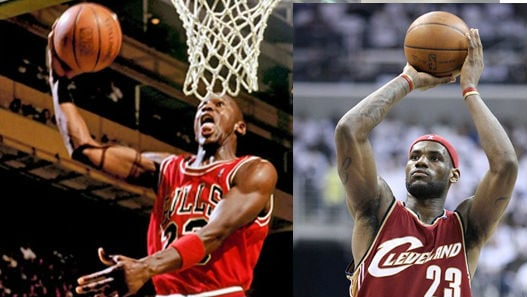Michael Jordan and Lebron James ( PHOTO: Cropped Photo: Keith Allison / Flickr / MGN &  Lipofski Basketballphoto.com / MGN )