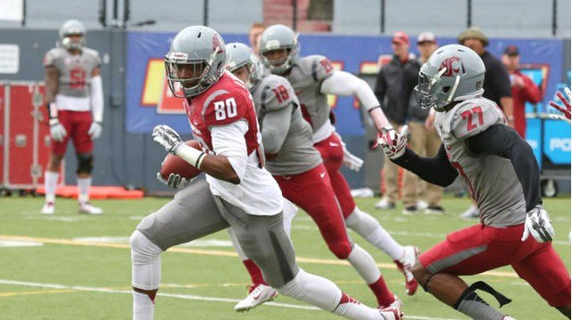 Dom Williams had a big day in the Cougars' Crimson and Gray Spring game on Saturday. (Photo: WSU)