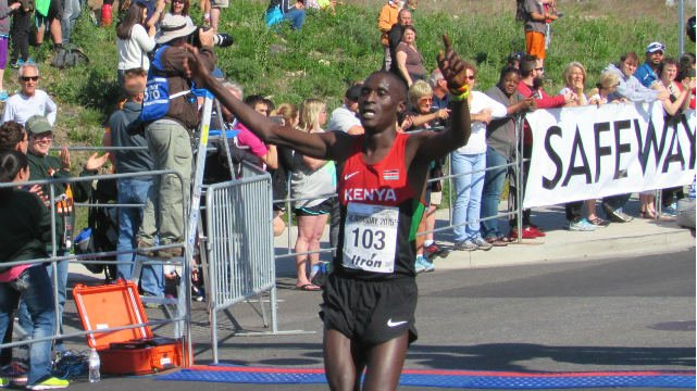 Lani Kiplagat Rutto after winning his first Bloomsday in 2015.