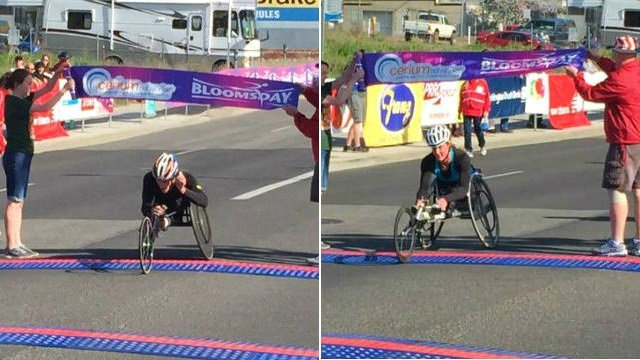Josh George and Tatyana McFadden crossing the finish line at Bloomsday 2015.