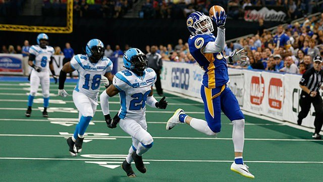The Shock have landed AFL vet Justin Hilton, seen here making a one-handed catch for Tampa Bay. (Photo: TB Storm)
