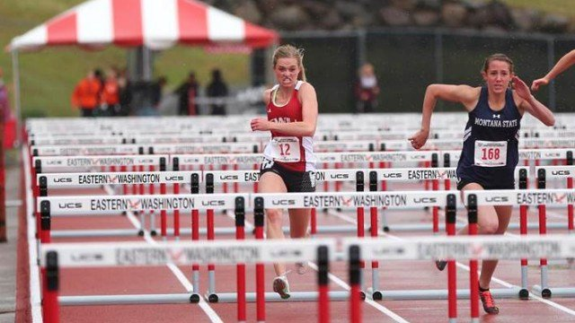 Jozie Kimes sits in 11th in the Women's Heptathalon at the Big Sky Track and Field Championships. (Photo: EWU)